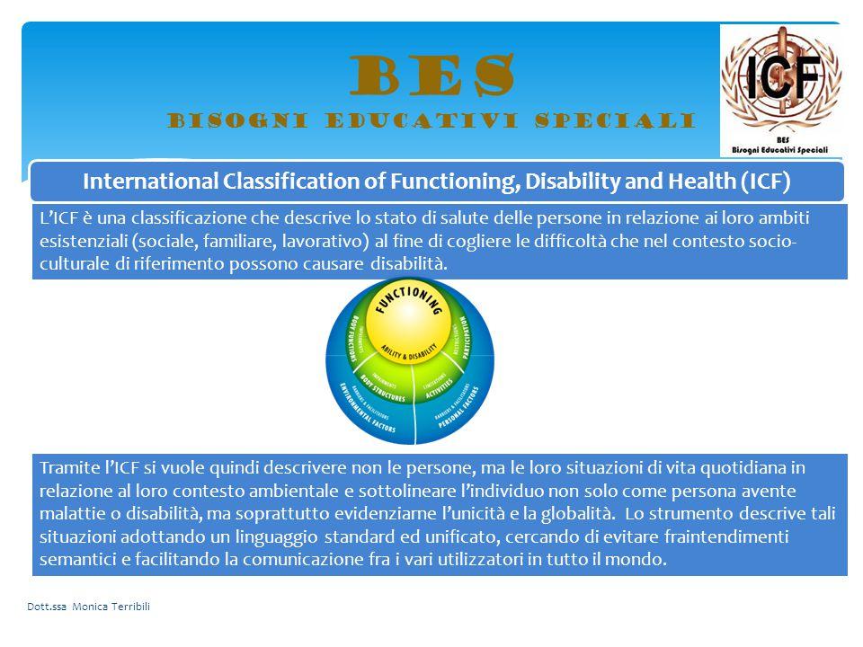 BES bisogni educativi speciali International Classification of Functioning, Disability and Health (ICF) L'ICF è una classificazione che descrive lo st