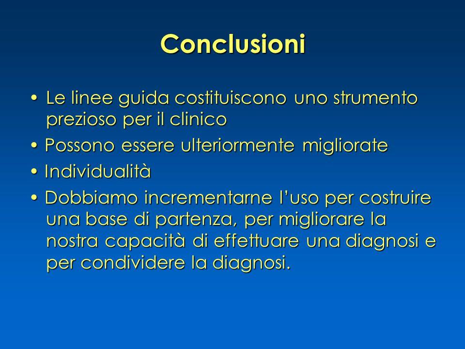 Conclusioni Le linee guida costituiscono uno strumento prezioso per il clinicoLe linee guida costituiscono uno strumento prezioso per il clinico Posso