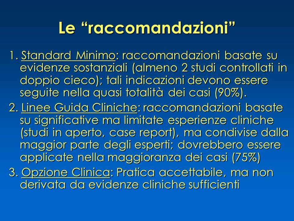 """Le """"raccomandazioni"""" 1. Standard Minimo: raccomandazioni basate su evidenze sostanziali (almeno 2 studi controllati in doppio cieco); tali indicazioni"""