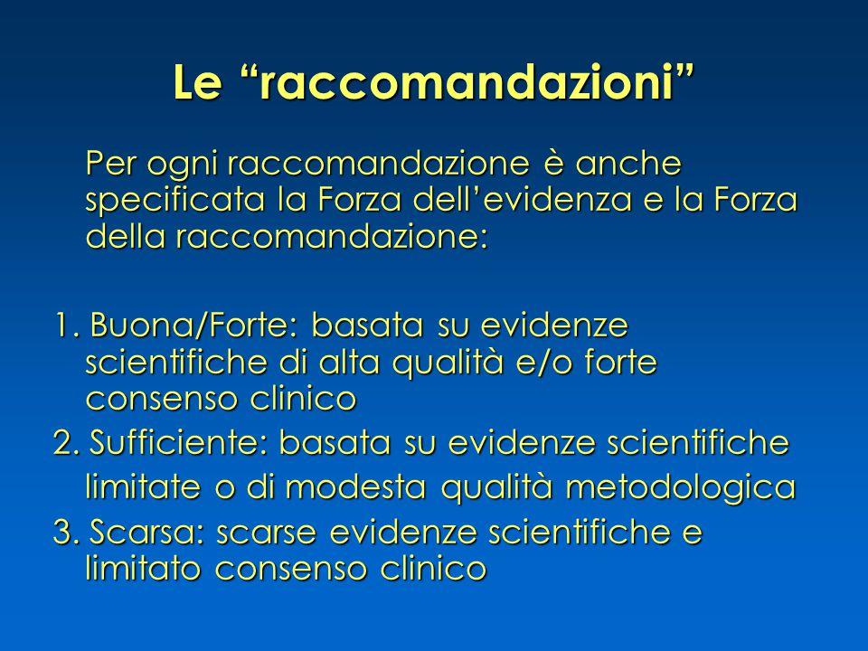 """Le """"raccomandazioni"""" Per ogni raccomandazione è anche specificata la Forza dell'evidenza e la Forza della raccomandazione: 1. Buona/Forte: basata su e"""