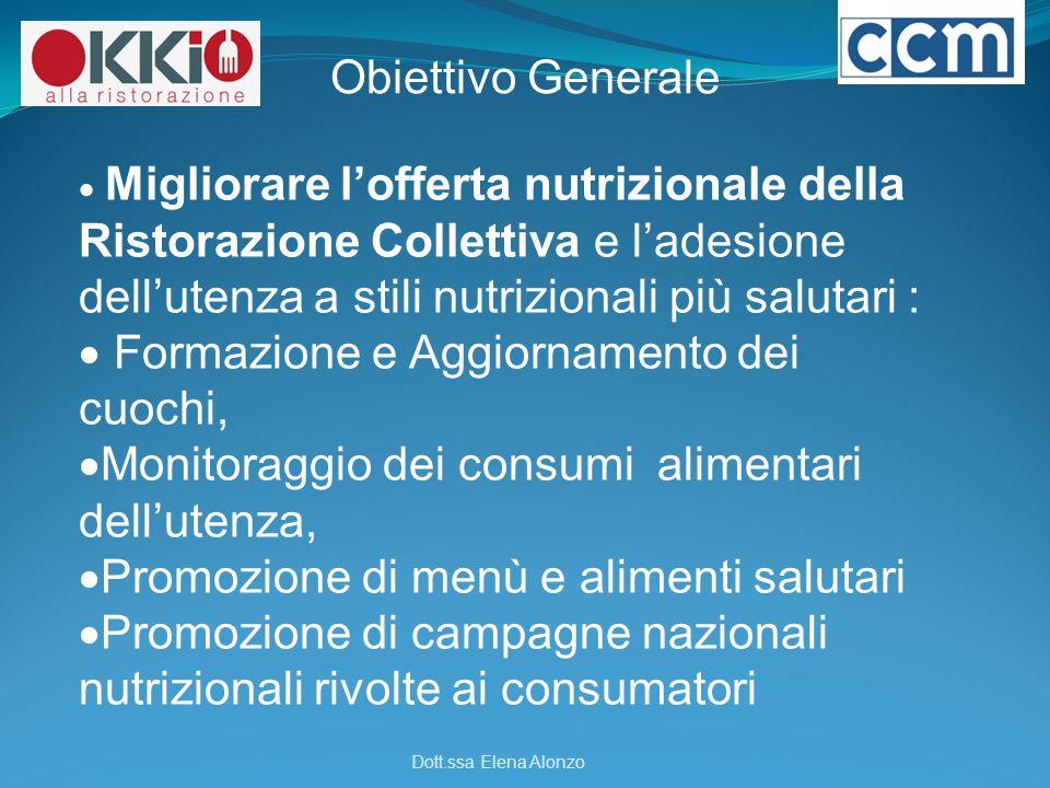 Obiettivo Generale  Migliorare l'offerta nutrizionale della Ristorazione Collettiva e l'adesione dell'utenza a stili nutrizionali più salutari :  Fo