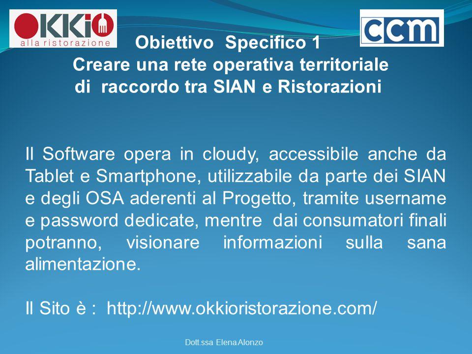 Il Software opera in cloudy, accessibile anche da Tablet e Smartphone, utilizzabile da parte dei SIAN e degli OSA aderenti al Progetto, tramite userna