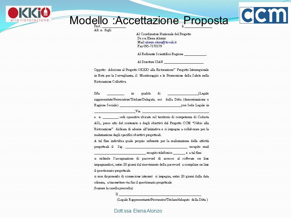 Dott.ssa Elena Alonzo Modello :Accettazione Proposta