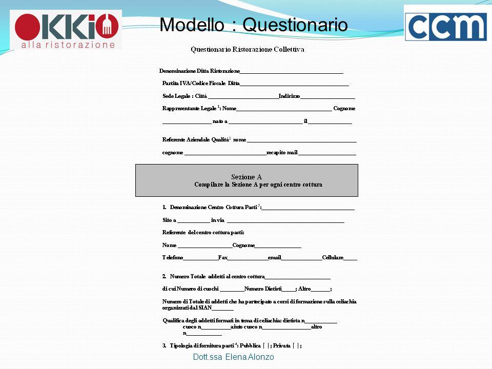 Dott.ssa Elena Alonzo Modello : Questionario