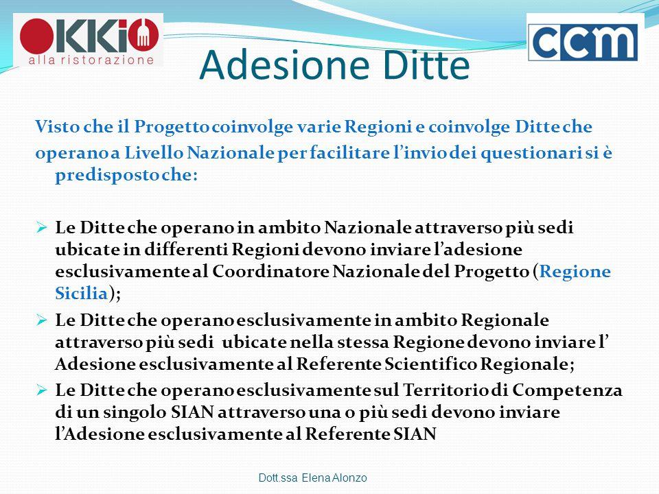 Adesione Ditte Visto che il Progetto coinvolge varie Regioni e coinvolge Ditte che operano a Livello Nazionale per facilitare l'invio dei questionari