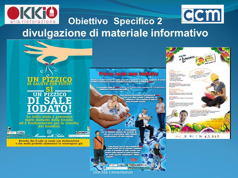 -.-. Obiettivo Specifico 2 divulgazione di materiale informativo Dott.ssa Elena Alonzo