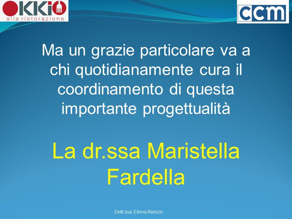 Ma un grazie particolare va a chi quotidianamente cura il coordinamento di questa importante progettualità La dr.ssa Maristella Fardella Dott.ssa Elen