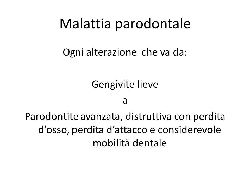 Malattia parodontale Ogni alterazione che va da: Gengivite lieve a Parodontite avanzata, distruttiva con perdita d'osso, perdita d'attacco e considere