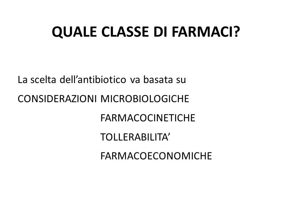 QUALE CLASSE DI FARMACI? La scelta dell'antibiotico va basata su CONSIDERAZIONI MICROBIOLOGICHE FARMACOCINETICHE TOLLERABILITA' FARMACOECONOMICHE