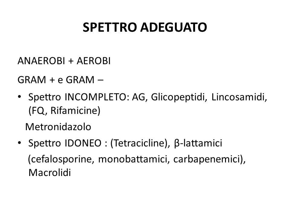 SPETTRO ADEGUATO ANAEROBI + AEROBI GRAM + e GRAM – Spettro INCOMPLETO: AG, Glicopeptidi, Lincosamidi, (FQ, Rifamicine) Metronidazolo Spettro IDONEO :