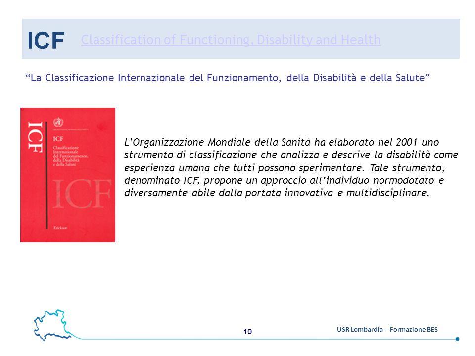 10 USR Lombardia – Formazione BES ICF L'Organizzazione Mondiale della Sanità ha elaborato nel 2001 uno strumento di classificazione che analizza e descrive la disabilità come esperienza umana che tutti possono sperimentare.