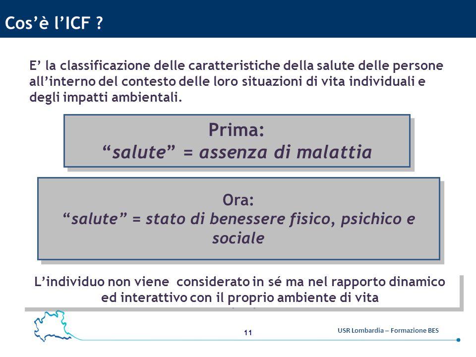 11 USR Lombardia – Formazione BES Cos'è l'ICF .
