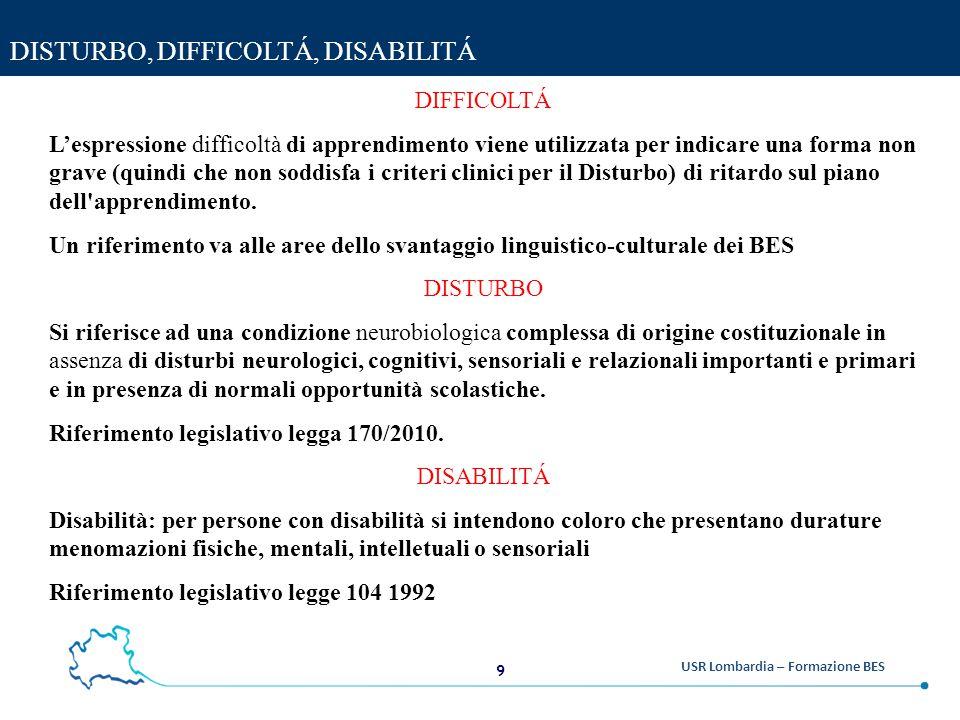 20 USR Lombardia – Formazione BES ALUNNI CON BISOGNI EDUCATIVI SPECIALI