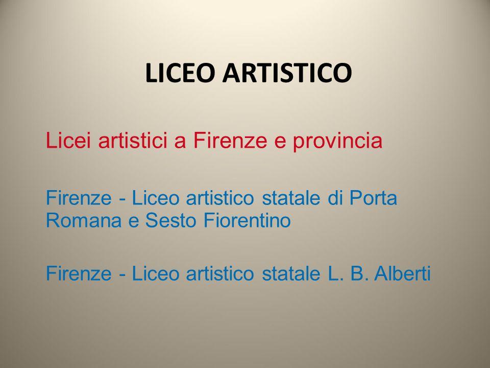 Licei artistici a Firenze e provincia Firenze - Liceo artistico statale di Porta Romana e Sesto Fiorentino Firenze - Liceo artistico statale L. B. Alb