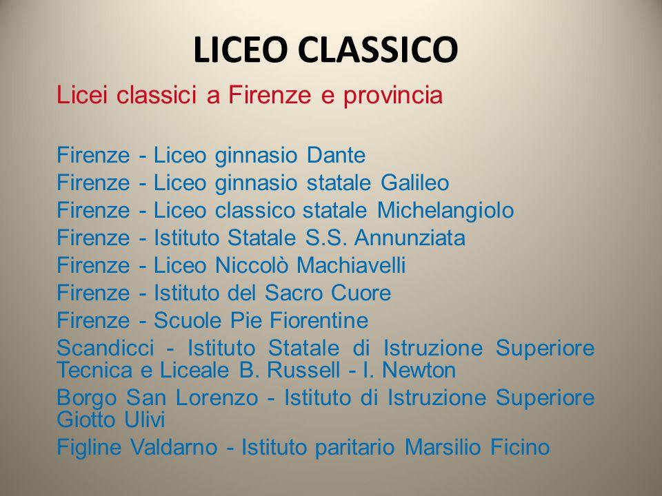 Licei classici a Firenze e provincia Firenze - Liceo ginnasio Dante Firenze - Liceo ginnasio statale Galileo Firenze - Liceo classico statale Michelan
