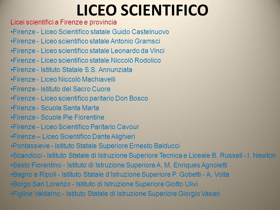Licei scientifici a Firenze e provincia Firenze - Liceo Scientifico statale Guido Castelnuovo Firenze - Liceo scientifico statale Antonio Gramsci Fire