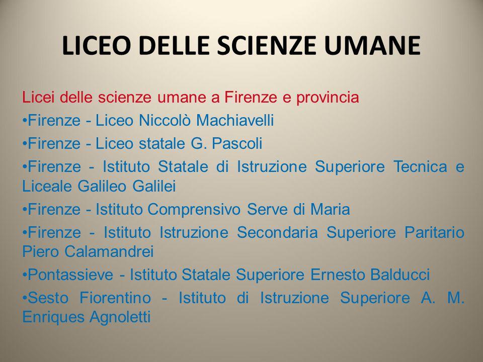 Licei delle scienze umane a Firenze e provincia Firenze - Liceo Niccolò Machiavelli Firenze - Liceo statale G. Pascoli Firenze - Istituto Statale di I