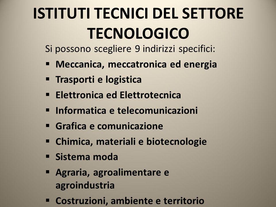 ISTITUTI TECNICI DEL SETTORE TECNOLOGICO Si possono scegliere 9 indirizzi specifici:  Meccanica, meccatronica ed energia  Trasporti e logistica  El