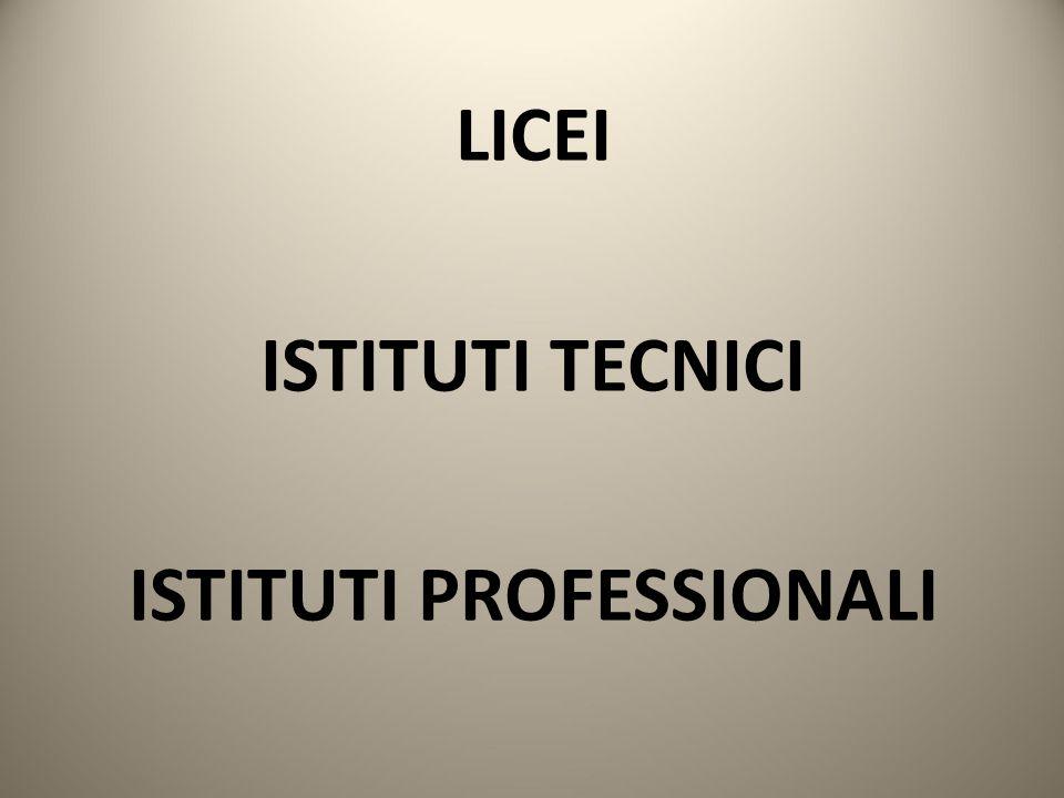 LICEI ISTITUTI TECNICI ISTITUTI PROFESSIONALI