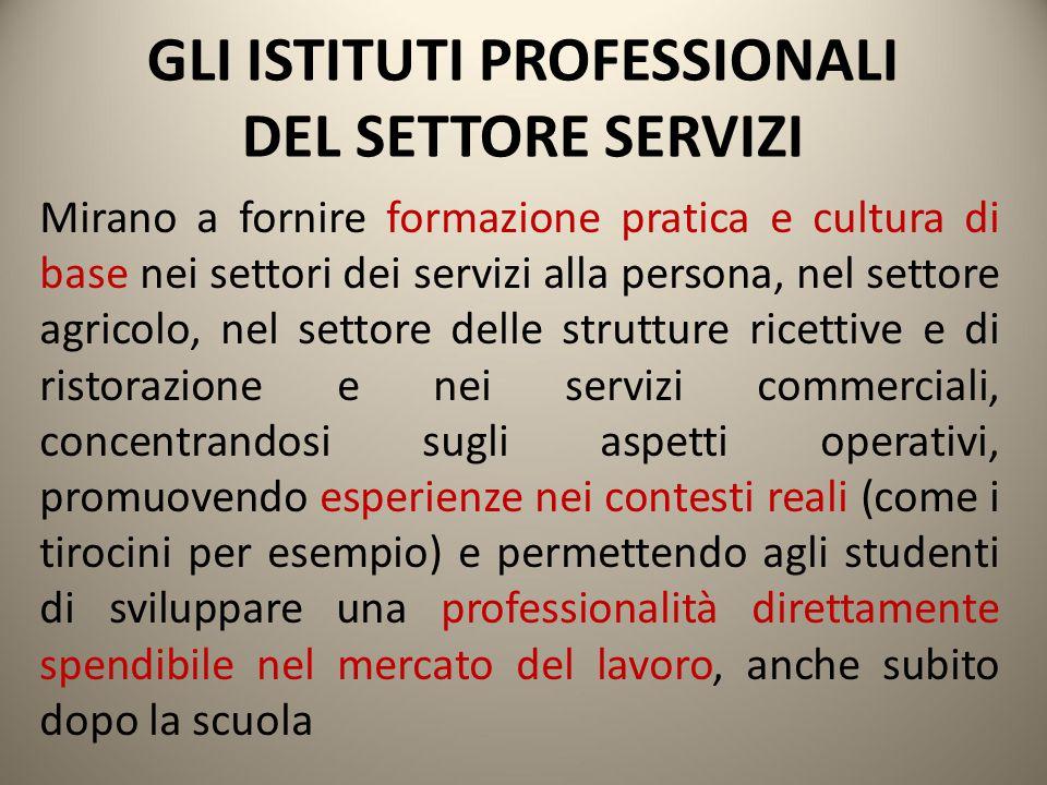 GLI ISTITUTI PROFESSIONALI DEL SETTORE SERVIZI Mirano a fornire formazione pratica e cultura di base nei settori dei servizi alla persona, nel settore