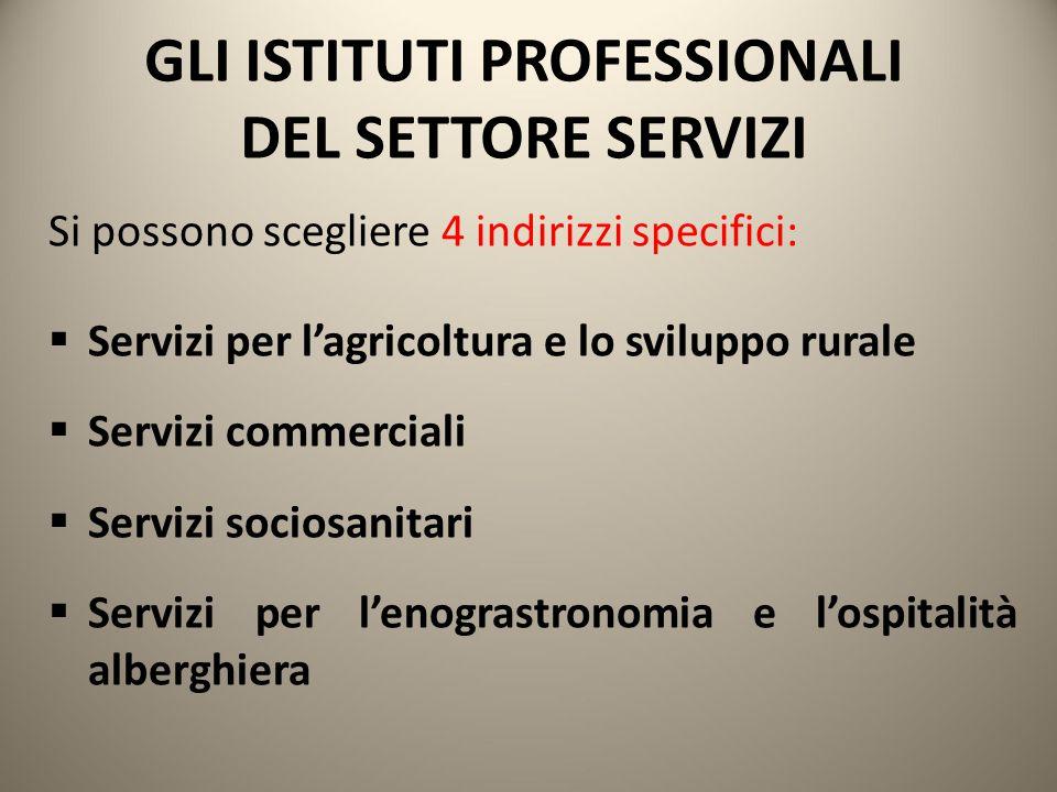 GLI ISTITUTI PROFESSIONALI DEL SETTORE SERVIZI Si possono scegliere 4 indirizzi specifici:  Servizi per l'agricoltura e lo sviluppo rurale  Servizi