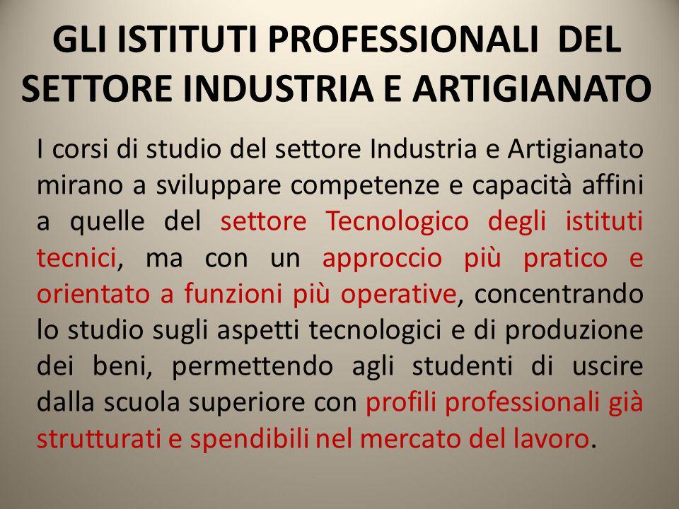 GLI ISTITUTI PROFESSIONALI DEL SETTORE INDUSTRIA E ARTIGIANATO I corsi di studio del settore Industria e Artigianato mirano a sviluppare competenze e