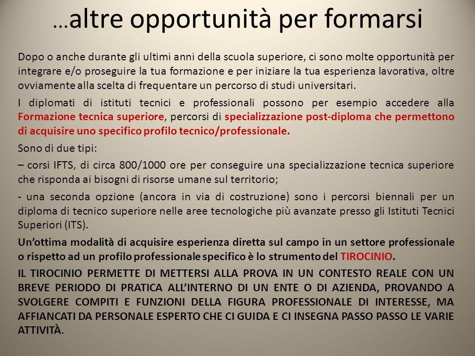 ... altre opportunità per formarsi Dopo o anche durante gli ultimi anni della scuola superiore, ci sono molte opportunità per integrare e/o proseguire