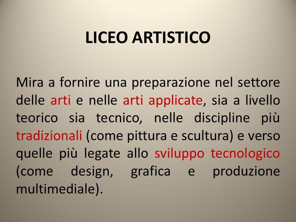LICEO ARTISTICO Si possono scegliere 6 indirizzi specifici:  ARTI FIGURATIVE (realizzazione di opere di pittura e scultura)  ARCHITETTURA E AMBIENTE (studio e progettazione per lo spazio urbano e le aree verdi)  DESIGN (progettazione di oggetti e prodotti industriali come arredamento, automobili...)  AUDIOVISIVO E MULTIMEDIALE (realizzazione video e di prodotti come CD e siti web)  GRAFICA (realizzazione di prodotti grafici come libri, riviste, loghi, poster...)  SCENOGRAFIA (progettazione di scenografie per il teatro, il cinema, g li eventi musicali...).