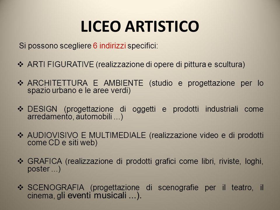 LICEO ARTISTICO Si possono scegliere 6 indirizzi specifici:  ARTI FIGURATIVE (realizzazione di opere di pittura e scultura)  ARCHITETTURA E AMBIENTE