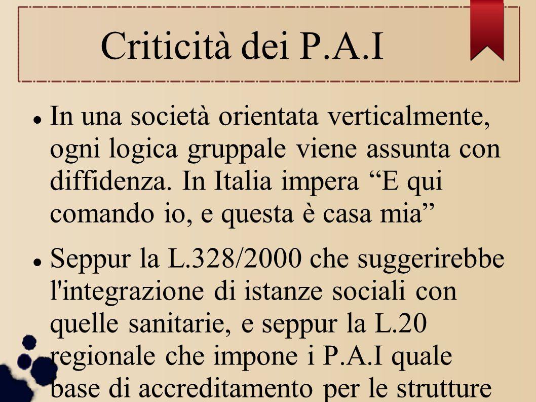 """Criticità dei P.A.I In una società orientata verticalmente, ogni logica gruppale viene assunta con diffidenza. In Italia impera """"E qui comando io, e q"""
