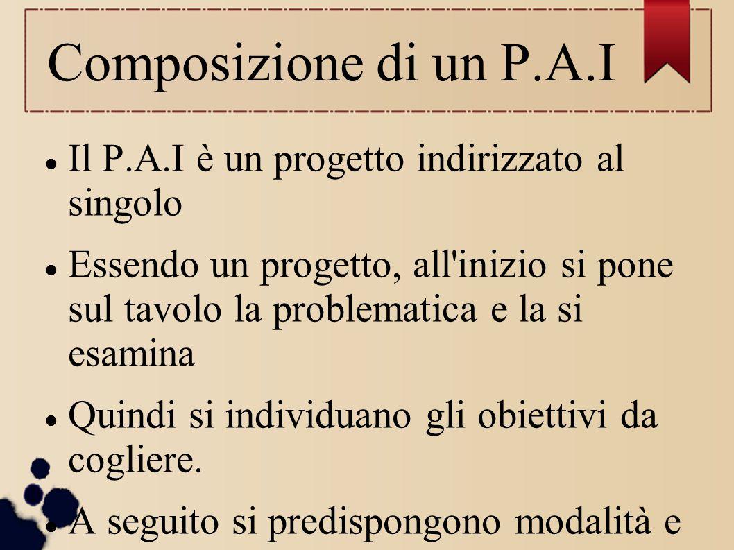 Composizione di un P.A.I Il P.A.I è un progetto indirizzato al singolo Essendo un progetto, all'inizio si pone sul tavolo la problematica e la si esam