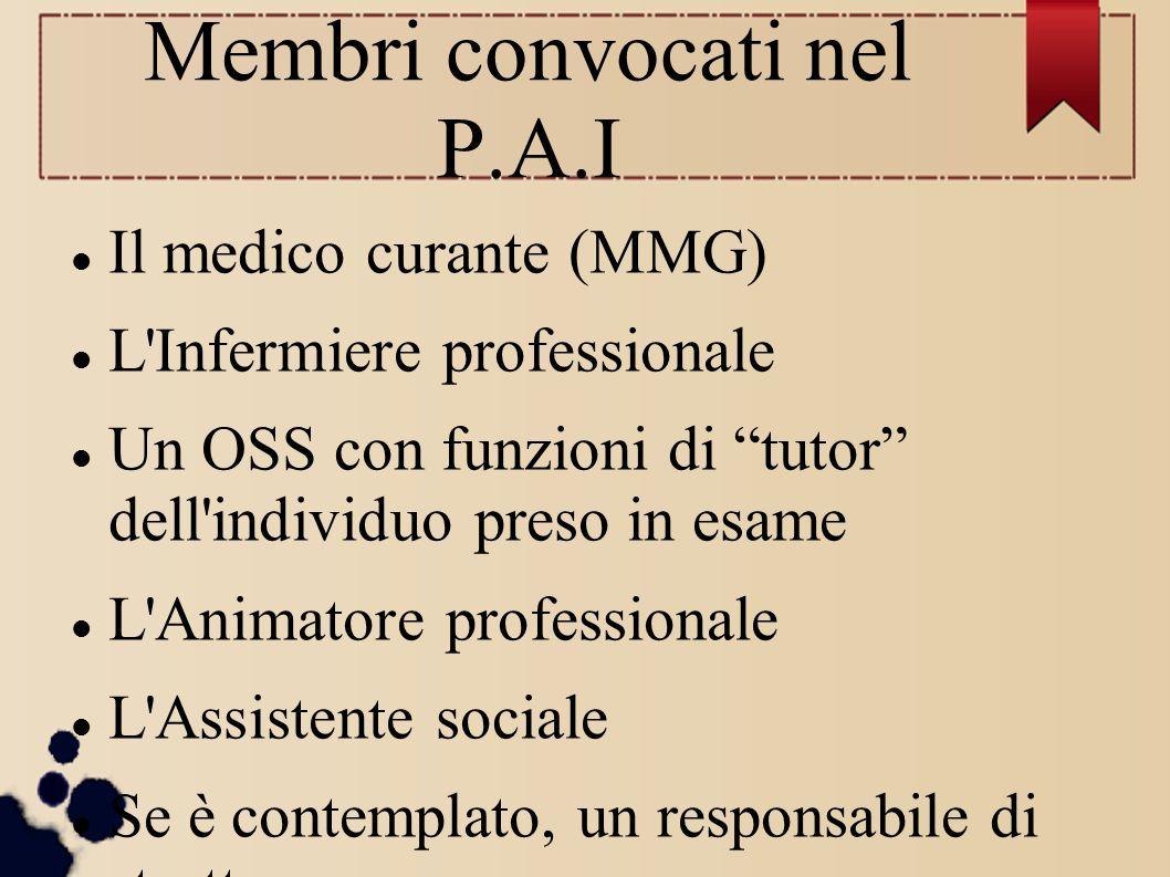 """Membri convocati nel P.A.I Il medico curante (MMG) L'Infermiere professionale Un OSS con funzioni di """"tutor"""" dell'individuo preso in esame L'Animatore"""