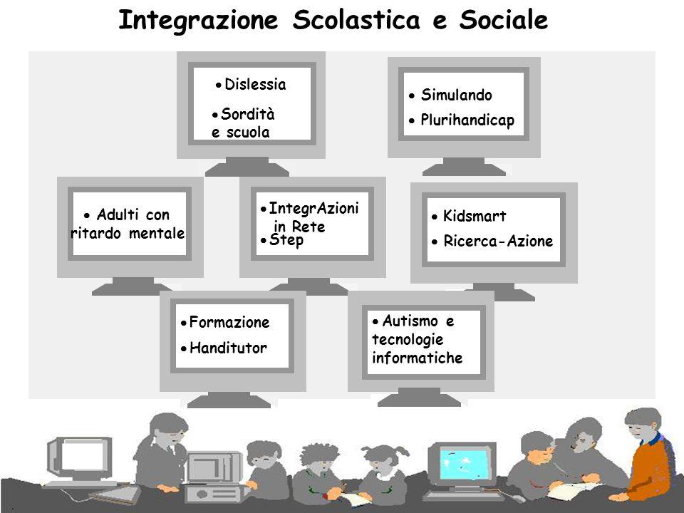 Integrazione Scolastica e Sociale  Dislessia  Sordità e scuola  Simulando  Plurihandicap  IntegrAzioni in Rete  Step  Ricerca-Azione  Kidsmart