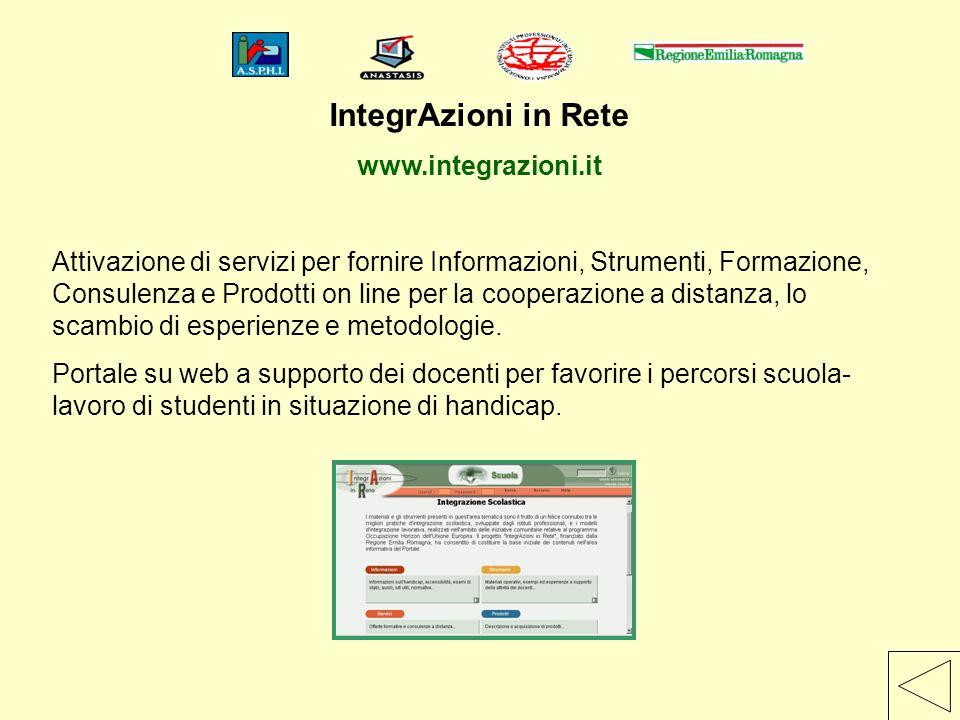 IntegrAzioni in Rete www.integrazioni.it Attivazione di servizi per fornire Informazioni, Strumenti, Formazione, Consulenza e Prodotti on line per la