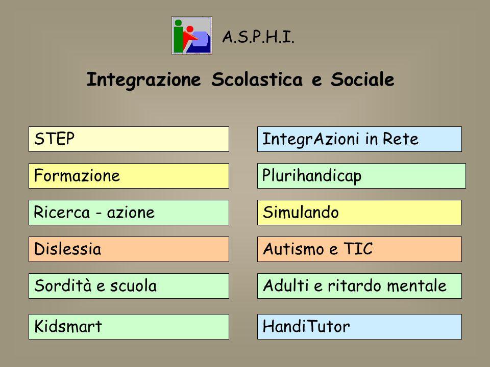 Integrazione Scolastica e Sociale STEP Formazione Ricerca - azione Dislessia Sordità e scuola Kidsmart IntegrAzioni in Rete Plurihandicap Simulando Au
