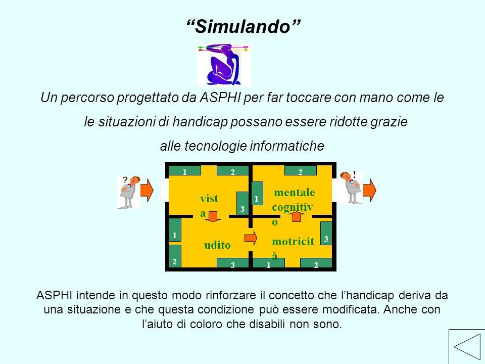 """""""Simulando"""" Un percorso progettato da ASPHI per far toccare con mano come le le situazioni di handicap possano essere ridotte grazie alle tecnologie i"""