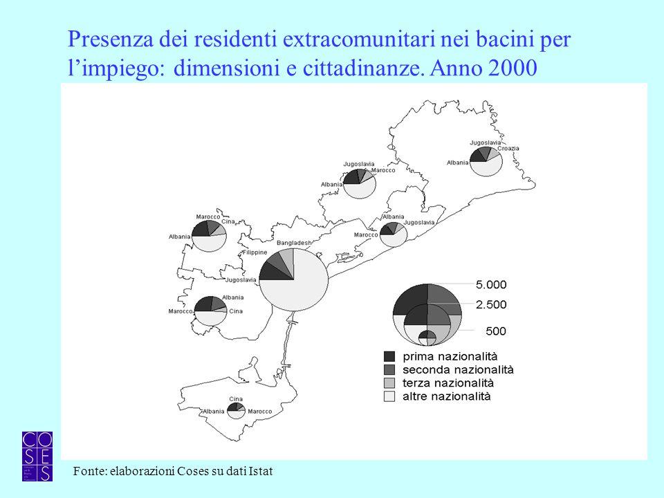 Incidenza degli stranieri residenti sul totale popolazione Anno 2000 Media regione: 3,1 Media provincia: 1,7 Fonte: elaborazioni Coses su dati Istat