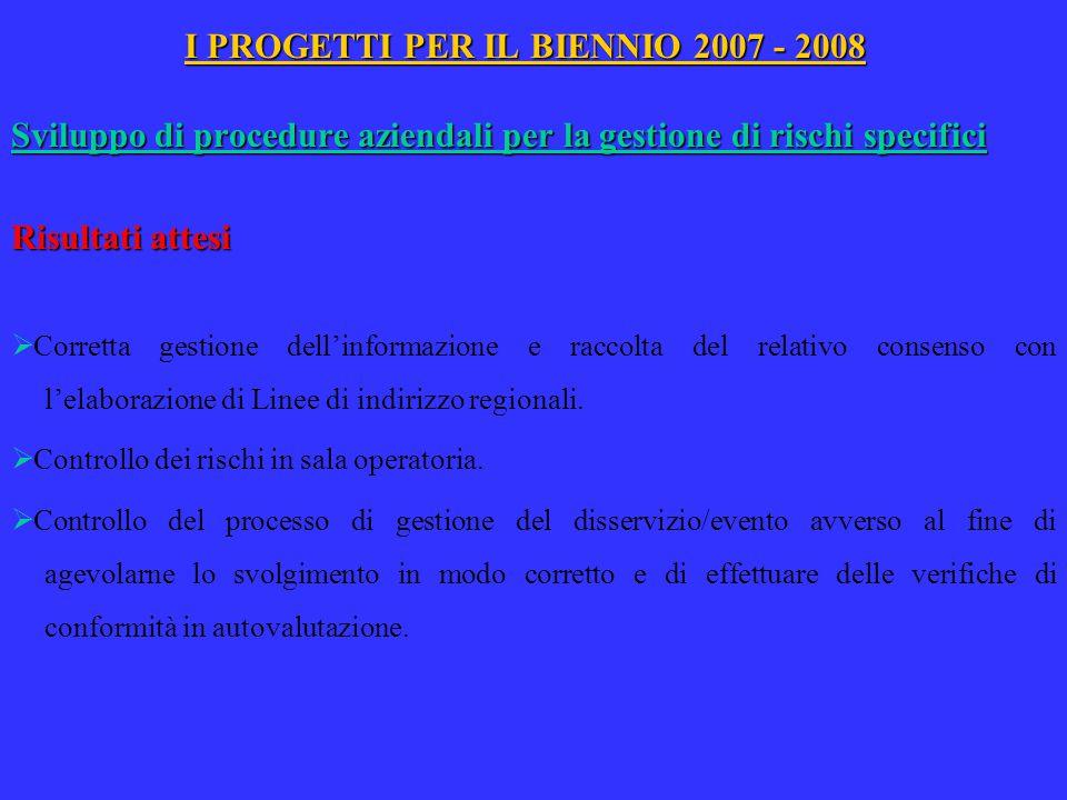 I PROGETTI PER IL BIENNIO 2007 - 2008 Sviluppo di procedure aziendali per la gestione di rischi specifici Risultati attesi  Corretta gestione dell'in