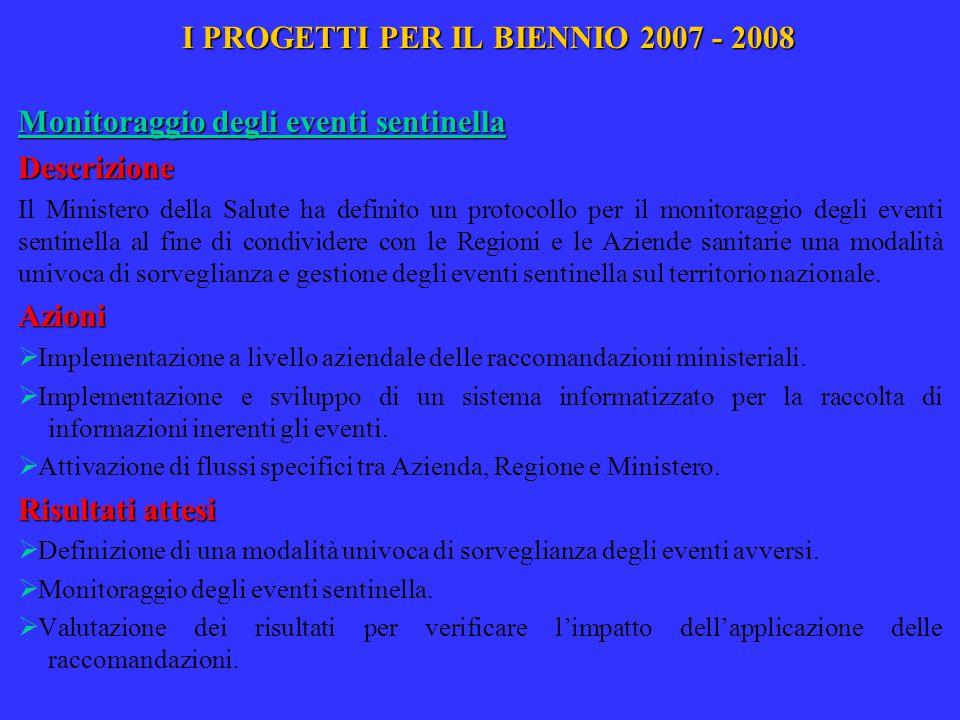 I PROGETTI PER IL BIENNIO 2007 - 2008 Monitoraggio degli eventi sentinella Descrizione Il Ministero della Salute ha definito un protocollo per il moni
