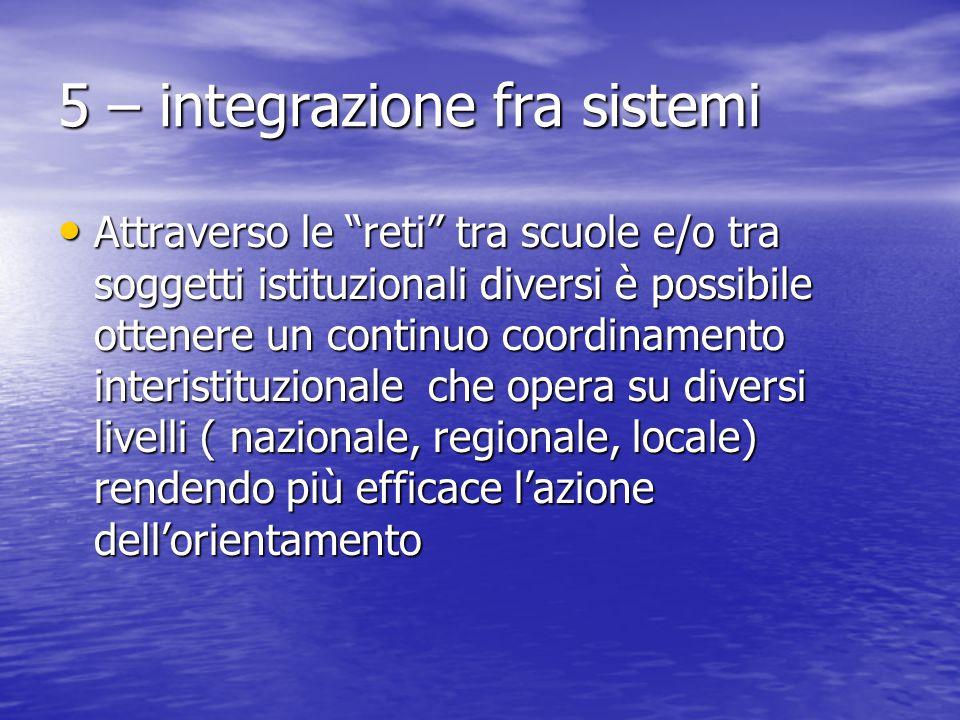 """5 – integrazione fra sistemi Attraverso le """"reti"""" tra scuole e/o tra soggetti istituzionali diversi è possibile ottenere un continuo coordinamento int"""