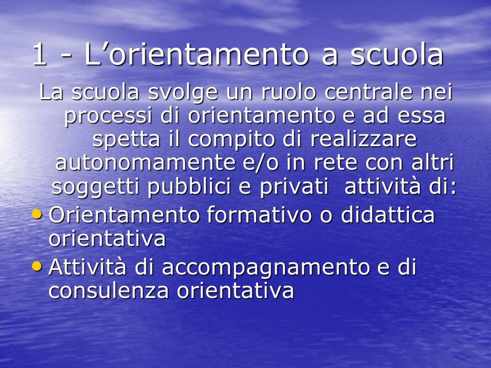 1 - L'orientamento a scuola La scuola svolge un ruolo centrale nei processi di orientamento e ad essa spetta il compito di realizzare autonomamente e/