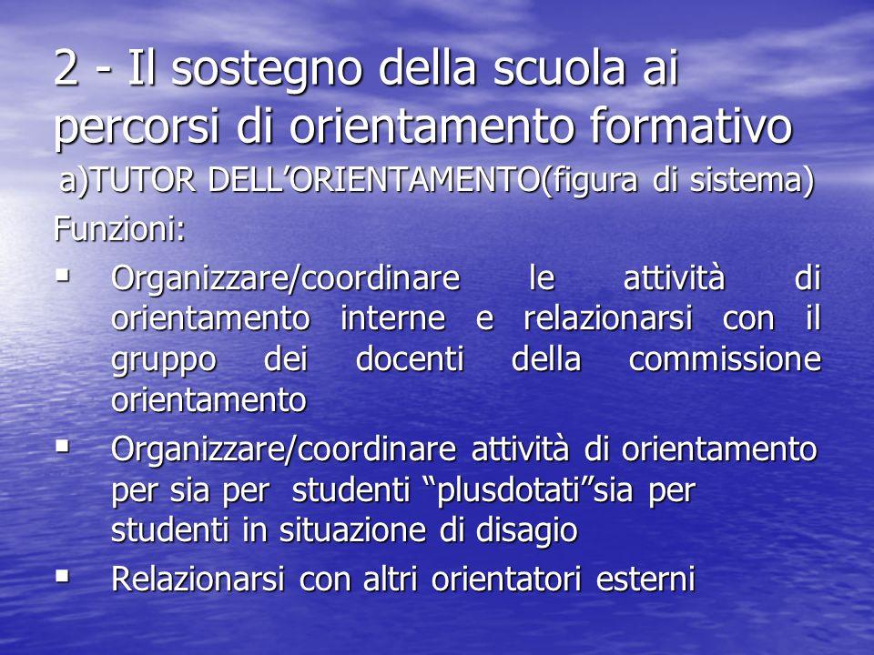 2 - Il sostegno della scuola ai percorsi di orientamento formativo a)TUTOR DELL'ORIENTAMENTO(figura di sistema) Funzioni:  Organizzare/coordinare le