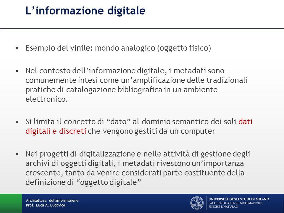 L'informazione digitale Esempio del vinile: mondo analogico (oggetto fisico) Nel contesto dell'informazione digitale, i metadati sono comunemente intesi come un'amplificazione delle tradizionali pratiche di catalogazione bibliografica in un ambiente elettronico.
