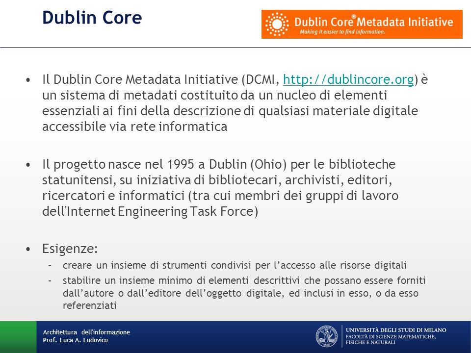 Dublin Core Il Dublin Core Metadata Initiative (DCMI, http://dublincore.org) è un sistema di metadati costituito da un nucleo di elementi essenziali ai fini della descrizione di qualsiasi materiale digitale accessibile via rete informaticahttp://dublincore.org Il progetto nasce nel 1995 a Dublin (Ohio) per le biblioteche statunitensi, su iniziativa di bibliotecari, archivisti, editori, ricercatori e informatici (tra cui membri dei gruppi di lavoro dell Internet Engineering Task Force) Esigenze: –creare un insieme di strumenti condivisi per l'accesso alle risorse digitali –stabilire un insieme minimo di elementi descrittivi che possano essere forniti dall'autore o dall'editore dell'oggetto digitale, ed inclusi in esso, o da esso referenziati Architettura dell informazione Prof.