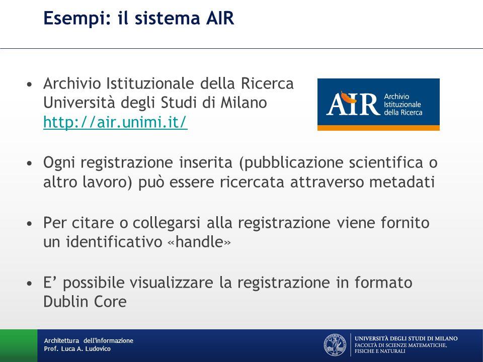 Esempi: il sistema AIR Archivio Istituzionale della Ricerca Università degli Studi di Milano http://air.unimi.it/ http://air.unimi.it/ Ogni registrazi