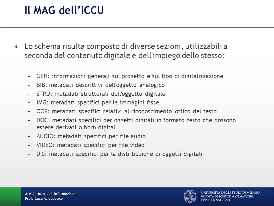 Il MAG dell'ICCU Lo schema risulta composto di diverse sezioni, utilizzabili a seconda del contenuto digitale e dell'impiego dello stesso: –GEN: infor