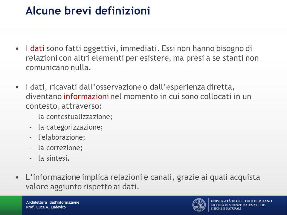 Architettura dell'informazione Prof. Luca A. Ludovico Alcune brevi definizioni I dati sono fatti oggettivi, immediati. Essi non hanno bisogno di relaz