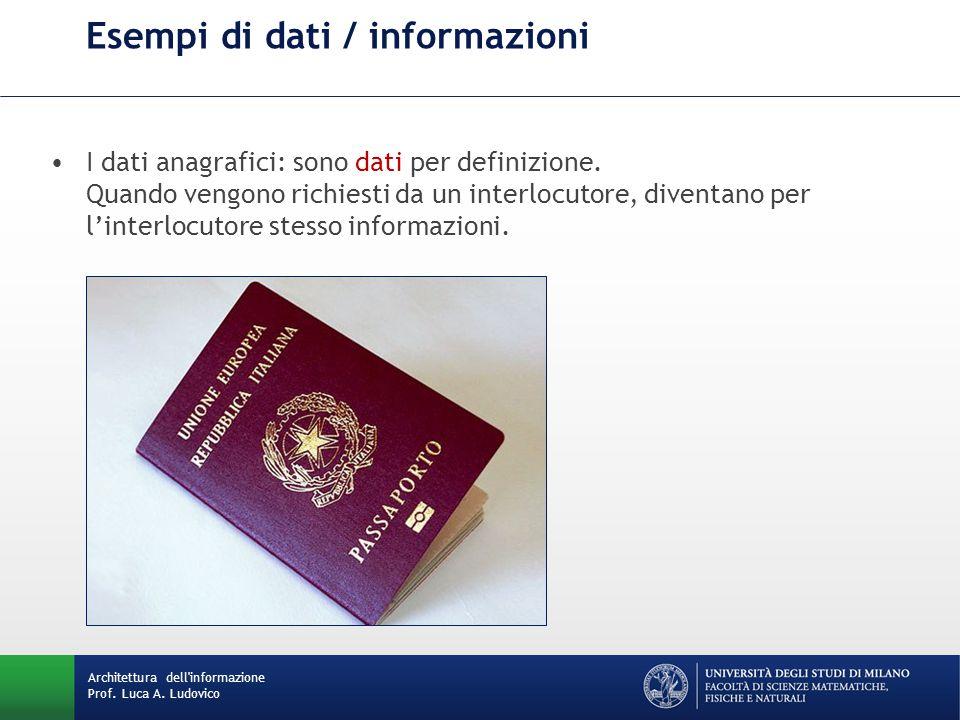 Architettura dell'informazione Prof. Luca A. Ludovico Esempi di dati / informazioni I dati anagrafici: sono dati per definizione. Quando vengono richi
