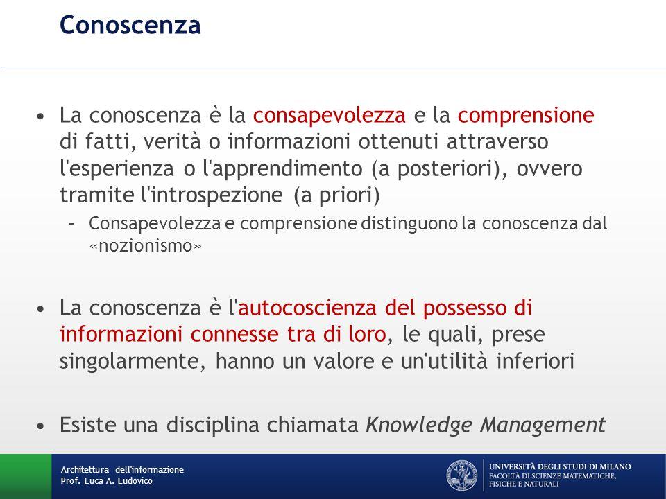 Architettura dell'informazione Prof. Luca A. Ludovico Conoscenza La conoscenza è la consapevolezza e la comprensione di fatti, verità o informazioni o