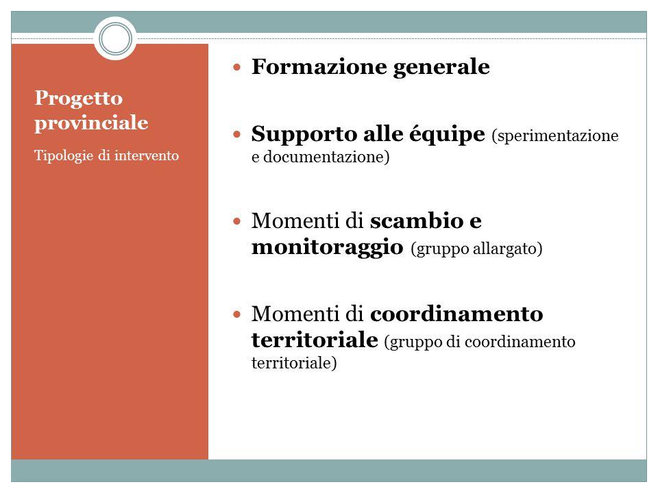 Progetto provinciale Tipologie di intervento Formazione generale Supporto alle équipe (sperimentazione e documentazione) Momenti di scambio e monitora